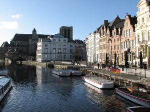 Graslei - Gent with boats in the canal